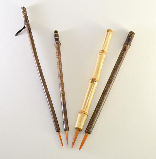 Orange Synthetic bristle set, with bamboo cane and wangi bamboo handless