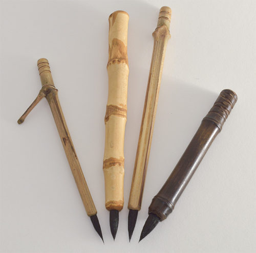 "1"" Goat brush bristle set with bamboo cane and wangi bamboo handles"
