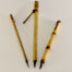 "Small, Medium, & Wangi Medium Diameter Brown Synthetic Brush Set with 3/4"" Long Bristles and Bamboo Cane and Wangi Handles"
