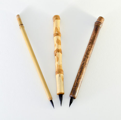 "1/2"" long Goat brush bristle set with bamboo cane and wangi bamboo handles"